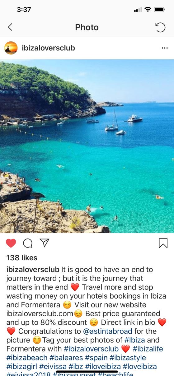 instagram post from ibizaloversclub